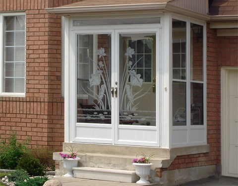 Aluminum associates entrance enclosures for Double entry storm doors